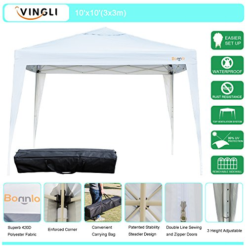 VINGLI Bonnlo Heavy Duty 10' x 10' Ez Pop Up Canopy Tent with 4 Removable Sidewalls Panels,White Folding Instant Wedding Party Outdoor Commercial Event Gazebo Pavilion W/ Carrying Bag Cathedral Canopy