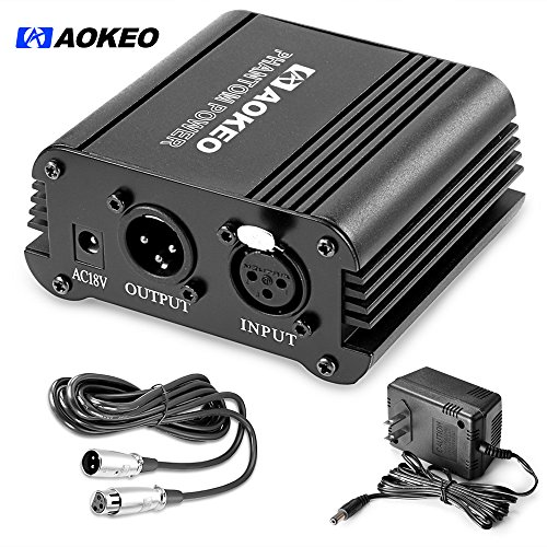 Aokeo 1-Channel 48V Phantom Power Supply with Adapter, BONUS+XLR 3 Pin Microphone Cable for Any Condenser Microphone Music Recording - Phantom Microphone Adapter Power