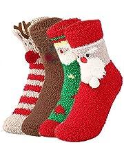 4 Paar Kerst Koraal Fluwelen Sokken, Kerst Fuzzy Sokken, Kerst Winter Warme Sokken, voor Volwassenen en Kinderen