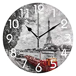 Dozili Chic Paris Eiffel Tower Over Seine River Red Ship Print(Black White) Round Wall Clock Arabic Numerals Design Non Ticking Wall Clock Large for Bedrooms,Living Room,Bathroom