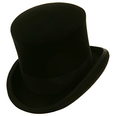 2a3e9d3df58b7 Amazon.com  Black Mad Hatter Top Hat 100% Wool Victorian  Clothing