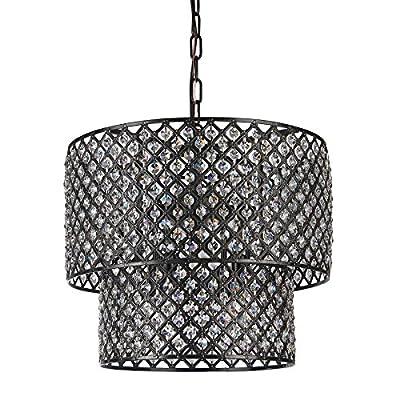 Edvivi Marya 8-Light Round Dual Drum Crystal Chandelier Ceiling Fixture