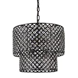 Antique Black Double Round Drum Shade 8-light Crystal Chandelier Ceiling Fixture For Sale