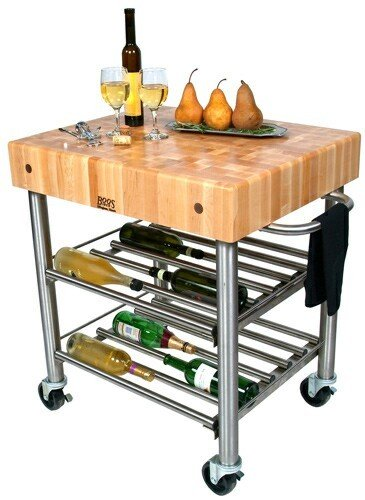 (Cucina Americana D'Amico Kitchen Cart with Butcher Block Top)