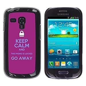 Caucho caso de Shell duro de la cubierta de accesorios de protección BY RAYDREAMMM - Samsung Galaxy S3 MINI NOT REGULAR! I8190 I8190N - Locked Padlock Purple Text Hands