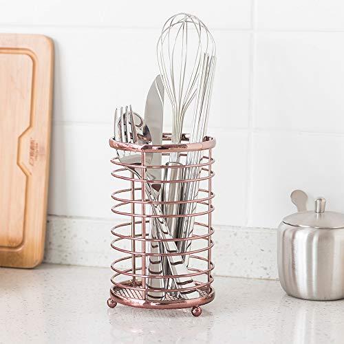 ORZ Rose Gold Kitchen Utensil Holder Flatware Organizer Caddy Storage Basket - Metal Wire