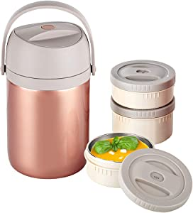 Insulated Food Jar, 43oz Thermal Food Containers, Vacuum Stainless Steel Lunch Jar, 3-Tier Stackable Leakproof Hot Cold Thermos Lunch Container for School Office Picnic Travel Outdoors(Gold)