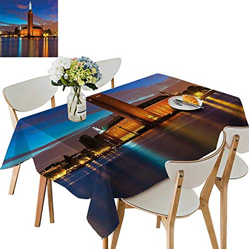 (UHOO2018 Polyester Square/Rectangle Night at City Hall Old Enchanted Town Sweden View Blue Cinnam Mauve Kitchen Washable,50 x102inch)