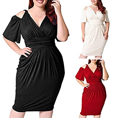 HODOD Women Plus Size Slim Strapless Sexy Solid Casual Beach Party Maxi Dress
