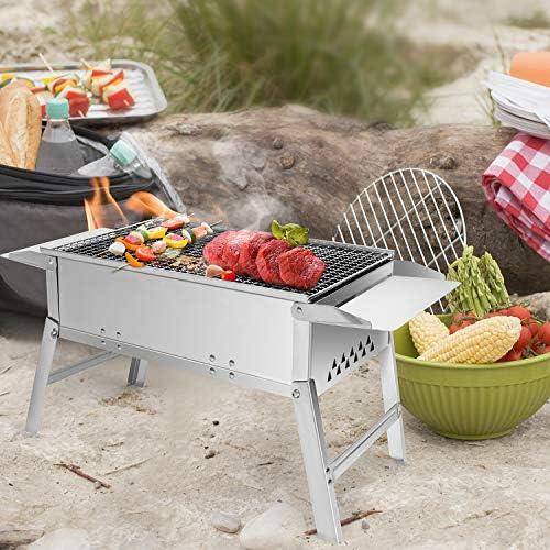 SunJas Barbecue Charbon de Bois Pliable en Acier Inoxydable, BBQ Barbecue de Table Barbecues de Pique-Nique Portable, Dimensions Ont 55×26.5×32CM, Argent