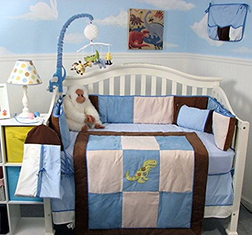 SoHo Blue and Brown Suede Dinosaur Complete Bedding Set with Diaper Bag