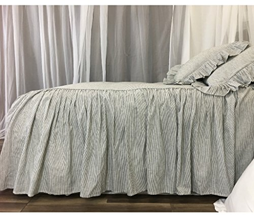 Subtle Black and White Ticking Striped Bedspread, Classic Stripe! (Stripe Ticking Classic)