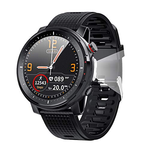 Sunsune Smart Watch,1.3″ Round Touch Screen Smartwatch, Bluetooth 5.0 Fitness Trackers with Heart Rate Monitor, Long Standby IP68 Waterproof Watch for Men Women for iOS Android Phones