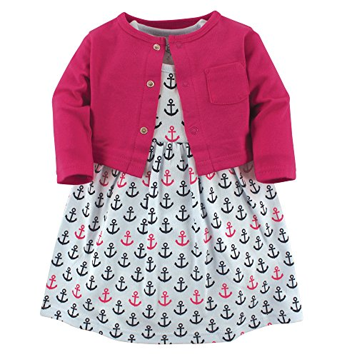 Luvable Friends Baby Girls' Dress and Cardigan Set, Anchors, 0-3 Months (3M)