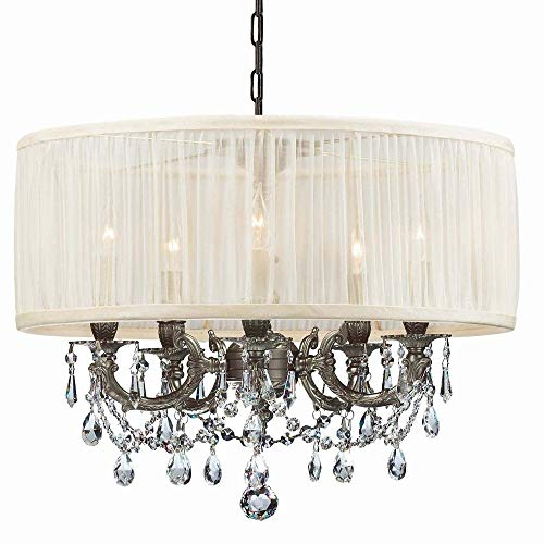 (Crystorama 5535-PW-SAW-CL-MWP, Brentwood Mini Crystal Chandelier Lighting, 5LT, 300 Watts, Pewter)