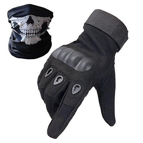 About Paintball (Tactical Gloves - Men's Wear-resistant Military Airsoft Gloves for Sporting Shooting Paintball Hunting Riding Motorcycle - Bundled With Skull Face Tube Mask£¨Solildshell Fullfinger)
