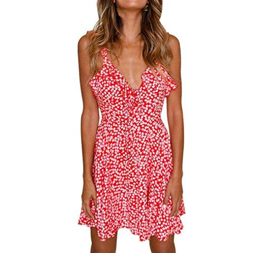 Damen Print-Spitze Kleider ,TPulling Frau Mode Einfarbig Bedrucktes Neckholder-Kleid mit V-Ausschnitt Print Rock Abend Partykleid Rot