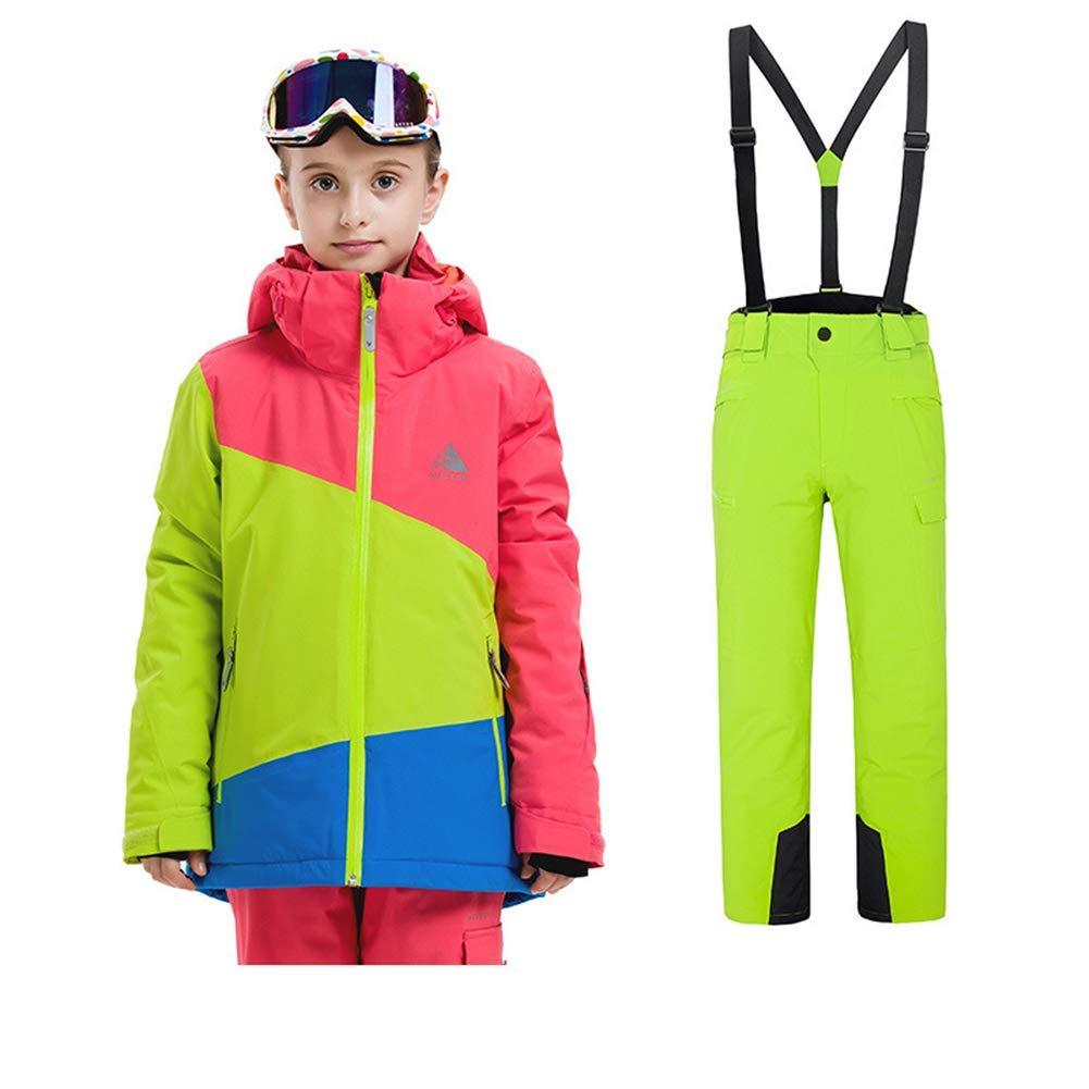 134 140 Z&X Les Enfants en Plein air d'hiver de Costume de Ski Portent des vêteHommests imperméables de Filles vêtus des Manteaux Chauds de Ski avec des Pantalons de Ski