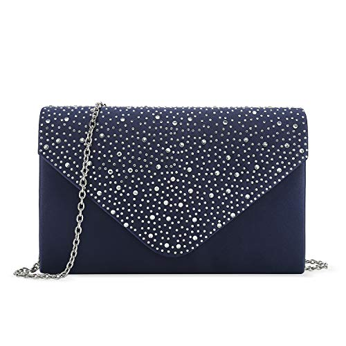 Charming Tailor Elegant Evening Bag, Classic Clear Diamante Satin Clutch Purse for Wedding/Prom/Party (Navy)