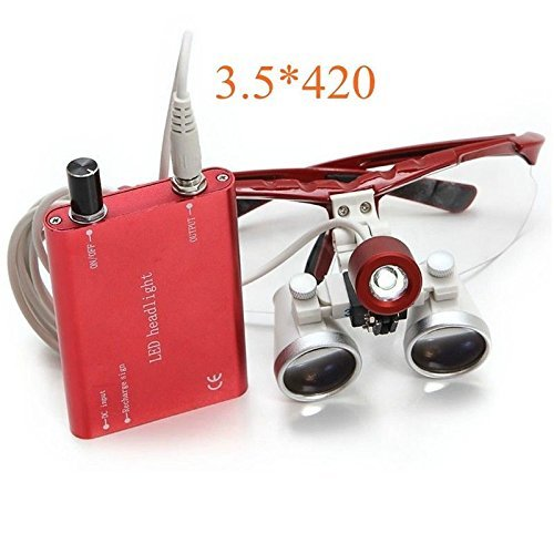 Dental Power Red 3.5x 420mm Surgical Medical Binocular Loupes Optical Glass+LED Headlight by Dental Power