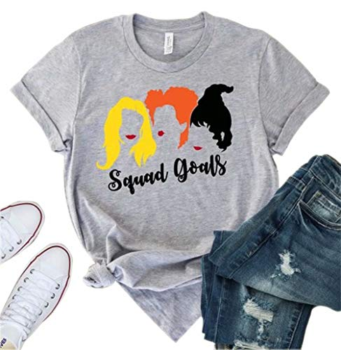 MNLYBABY Women Squad Goals Halloween Shirt Hocus Pocus Sanderson Sisters Short Sleeve Unisex T-Shirt Size L (Grey)
