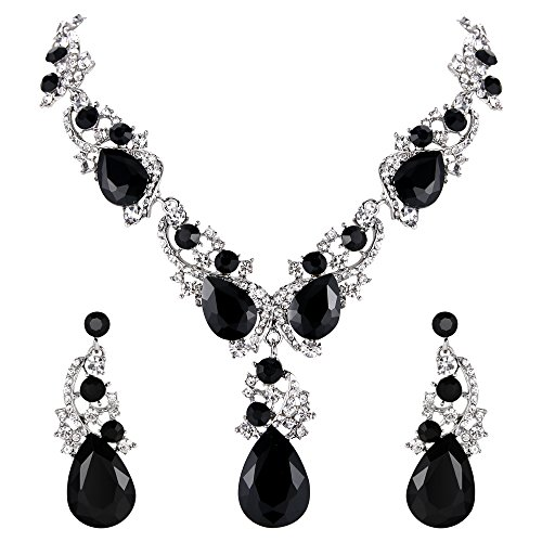 BriLove Wedding Bridal Necklace Earrings Jewelry Set for Women Multi Teardrop Cluster Crystal Statement Necklace Dangle Earrings Set Black Silver-Tone ()