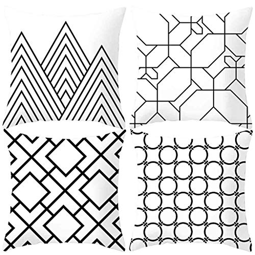 MEANIT Pack of 4 Throw Cushion Cover Cushion Case 18 x 18 Inch Decorative Black White Pillow Cover