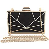 Fashion Serpentine Women's Day Clutch Bags Unique Metal Box Evening Bag Chain Shoulder Bags Handbags Wedding Party Purse,Black