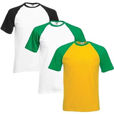 799d7434f08e Fruit of the Loom Men's Pack of 3 Baseball T-Shirts: Amazon.co.uk: Clothing