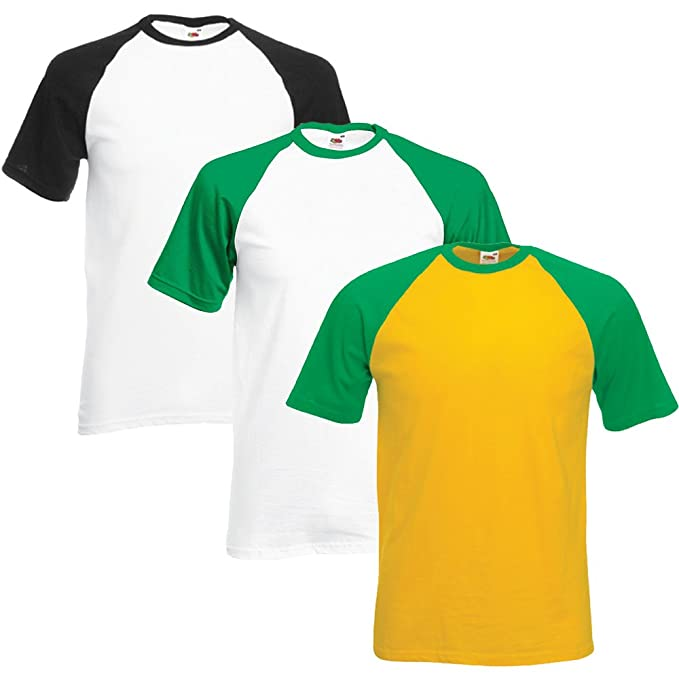 Fruit Of The Loom hombre Valueweight Multi-Pack Of 3 Camiseta del béisbol: Amazon.es: Ropa y accesorios