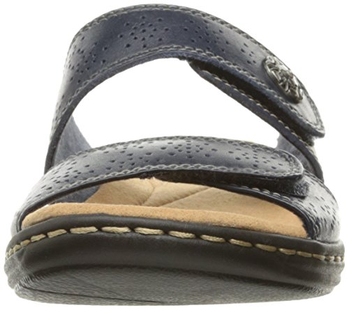 CLARKS Womens Leisa Lacole Slide Sandal, Navy Leather, 12 M US