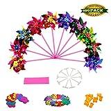 Johouse Party Pinwheels Windmill Rainbow Pinwheel Set for Kids Toy Garden Lawn Decor, 100 PCS