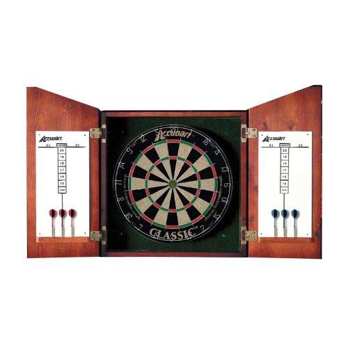 Bristle Dartboard Wood Cabinet (Accudart Union Jack Dartboard Cabinet and Set)