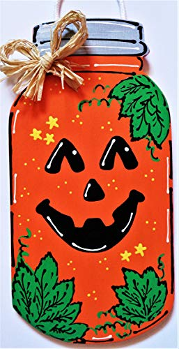 Susie85Electra Pumpkin Halloween Mason Jar Sign Hanging Door Plaque Fall Autumn Porch Family Wall Home Handcrafted Hand Painted Wreath Embellishment -