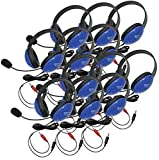 Califone 2800BLAV-12L Listening First Stereo Headsets, Blue, Pack of 12