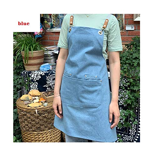 huayun Fashion Denim Coffee Shop and Hairdresser Chef Protection Suit Bib Cooking Kitchen Aprons for Apron Overall,A2,L - Lucy Love I Chefs Hat