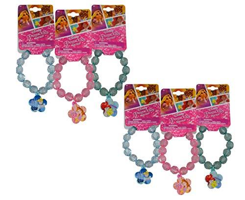 [6-Pack] Disney Princess Belle, Ariel, Cinderella Plastic Crystal Stretch Bracelets