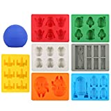 Image of Set of 8 Star Wars Silicone Ice Trays / Chocolate Molds: Stormtrooper, Darth Vader, X-Wing Fighter, Millennium Falcon, R2-D2, Han Solo, Boba Fett, and Death Star