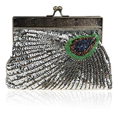 Catching Teal Peacock Antique Evening Vintage Eye Sunburst Clutch Unusual Purse Sequin Handbag Silver Beaded gwfx5PqWZ5