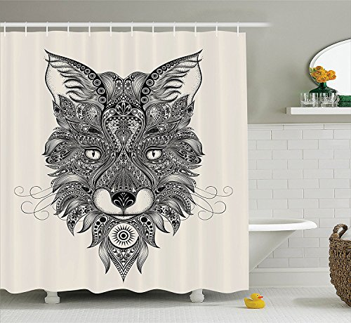 [Celtic Decor Shower Curtain Set Sharp Eyed Fox Head Portrait Ethnic Mask Celtic Animal Pattern DecorAsian Style Image Bathroom Accessories Black] (Mounted Animal Head Costume)