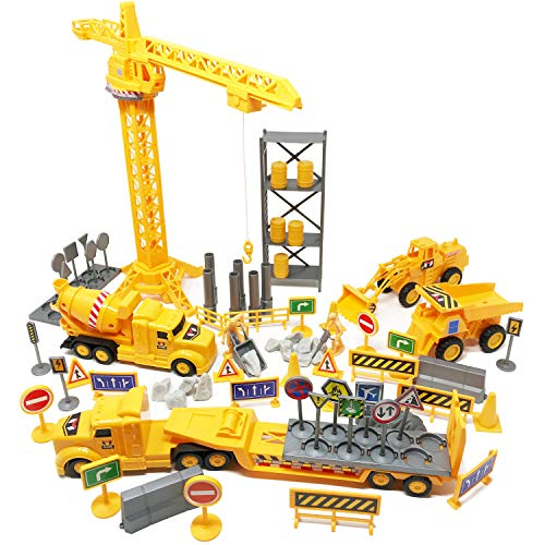 Boley 100-Piece Construction Project and Vehicles Play Set - Variety Pack of Construction Toys Cars Vehicles and Playset Toy Accessories for Boys, Girls, and Toddler -