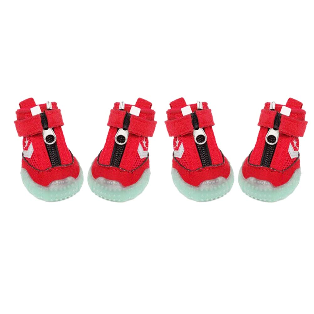Red A Norbi Dog Booties Reflective Waterproof Shoes Anti-Slip Sneakers with Zipper Pet Paw Protector 4PCS