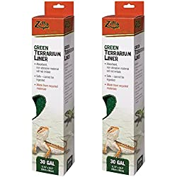 (2 Pack) Zilla Reptile Terrarium Bedding Substrate Liner, Green - 30 Gallon