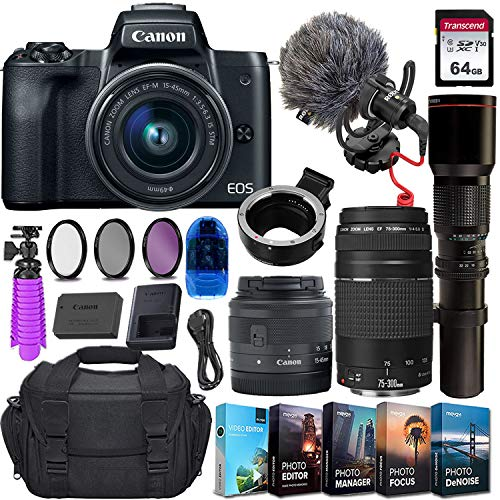 Canon EOS M50 Mirrorless Digital Camera (Black) & 15-45mm STM Lens + 2 Lens Kit w/Rode VideoMicro Compact On-Camera Microphone + 64GB Transcend Memory Card, Camera Bag & Essential Accessory Bundle