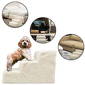 Puppy Pet Stairs Dog Steps – for Small Pets Dogs Cats Doggie – Portable Cat, Pup, Doggy 3 Step Ladder Ramp – Helps Puppies Reach Couch, Bed, Sofa, Chairs, Auto. Ideal for Arthritic, Recovering Pets