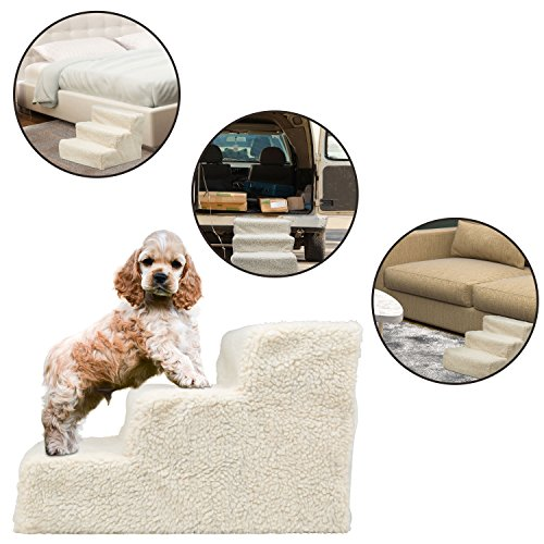 Ideas In Life Small Dog, Puppy Small Size Height 12″ Pet Stairs Ramps for High Beds – Size 12″ Doggy Steps for Dogs and Cats Used as Dog Ladder for Tall Couch, Bed, Chair or Car