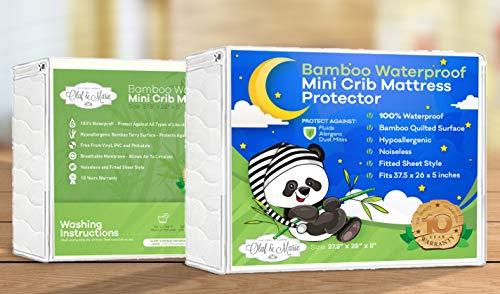 Waterproof Crib Mattress Protector, Soft, Fits Mini Portable, Playard, Foldable Travel Mattresses Protecting Your Mattress from Damage.