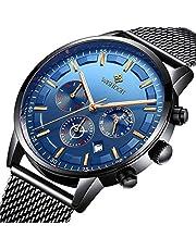 Herren Uhren Mode wasserdichte Chronograph Quarz Uhr für Mann Business Kleid mit Schwarzem Edelstahlgewebe……