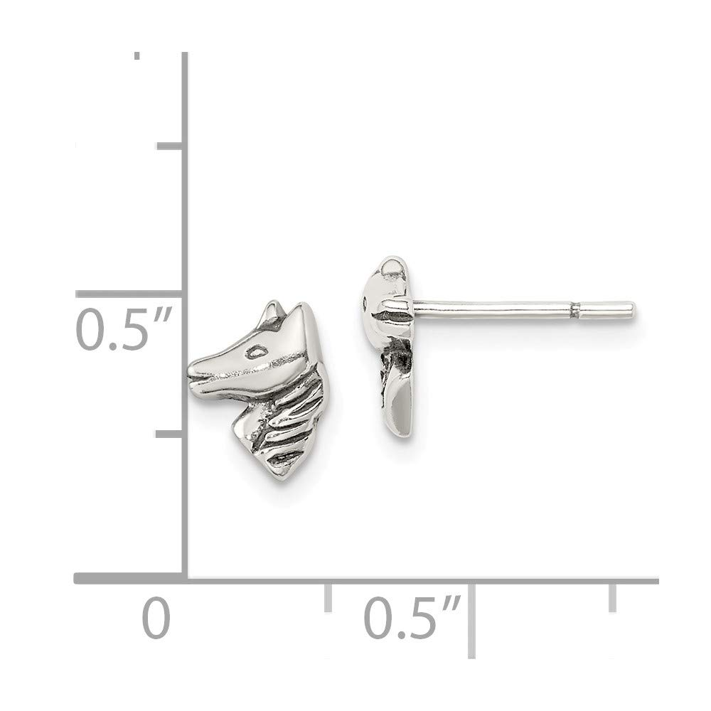 Solid 925 Sterling Silver Polished and Antiqued-Style Horse Post Earrings 8mm x 7mm