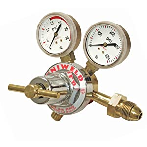 Uniweld RUH8211 Medium/Heavy Duty Single Stage Acetylene Regulator with a CGA510 Inlet
